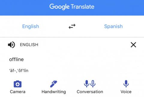 Tap a language on either side of the translate divide to download it.