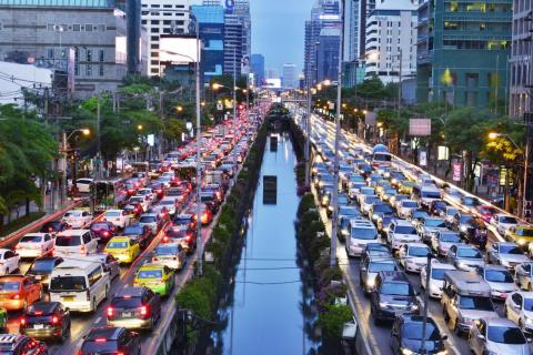 But things are congested there. Ten million vehicles clog Bangkok's roadways.