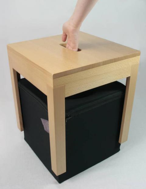 "The ""thought box"" can be stored underneath its stool."