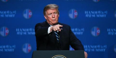 Donald Trump, durante la conferencia de prensa en Hanoi