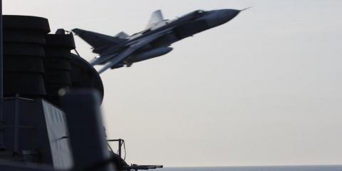 The USS Donald Cook is buzzed by a Russian Su-24