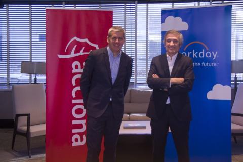 De izquierda a derecha: Gonzalo Benedit, presidente de EMEA, AP y Japón de Workday, y Alfonso Callejo, director general de Recursos Corporativos de Acciona.
