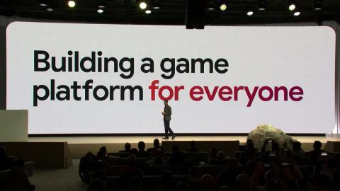 "1:09 PM: Google's plan is to build a game platform for everyone. ""We're dead serious about making technology accessible to everyone."" But he explains that games aren't instantly enjoyable because you need high-end hardware for a"