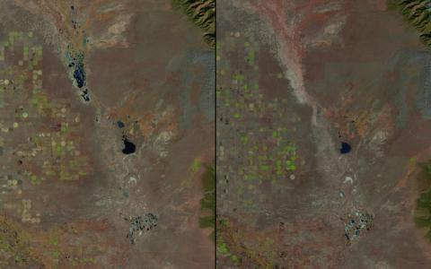 In the 1980s, NASA also started documented shrinking bodies of water and rivers across the globe. This photo of Great Sand Dunes National Park in Colorado shows how much of the lakes disappeared between 1987 (left) and 2011 (right
