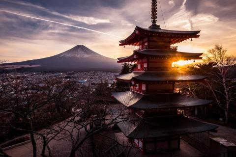 View from Mount Fuji of Chureito Pagoda, outside of Tokyo.