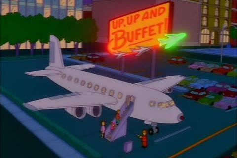 Avión restaurante en Los Simpson