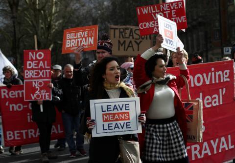 Una manifestación de partidarios del Brexit en Londres.