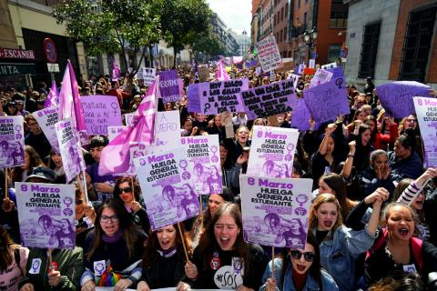 Mujeres en la manifestación feminista en Madrid.