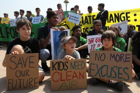 Huelga por el clima en Nueva Delhi