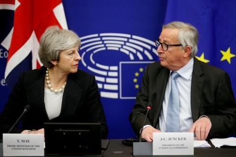 Theresa May y Jean-Claude Juncker, en la conferencia conjunta del pasado lunes