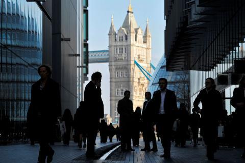 Trabajadores en la City de Londres.