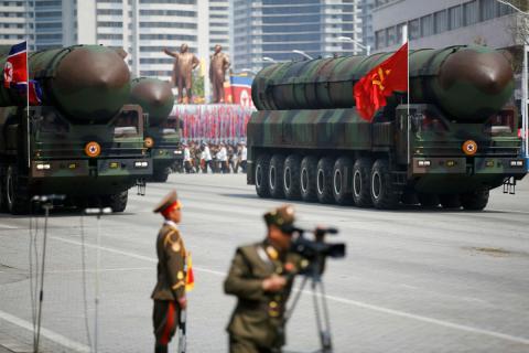 Una echibición militar en Corea del Norte.