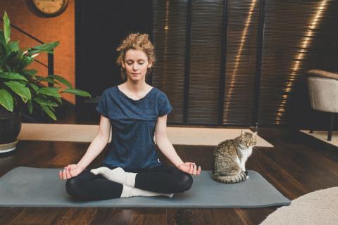 Una mujer practica yoga junto a su gato