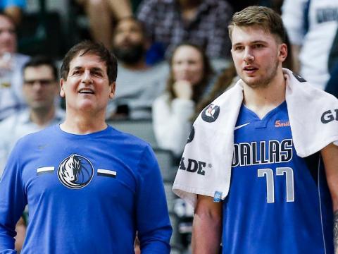 Mark Cuban, left, with Dallas Mavericks player Luka Doncic.