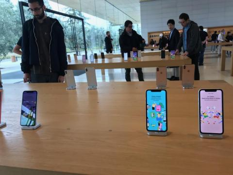 In addition to the shirts, hats, and postcards, the visitor center store carries the Apple products found in the company's other outlets, including iPhones.
