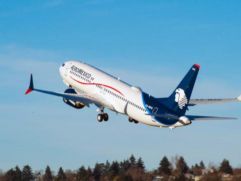 A 737 Max aircraft operated by Aeromexico.