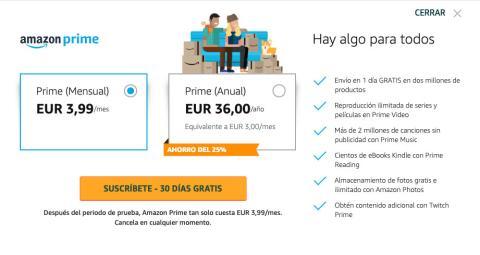 Precio de Amazon Prime