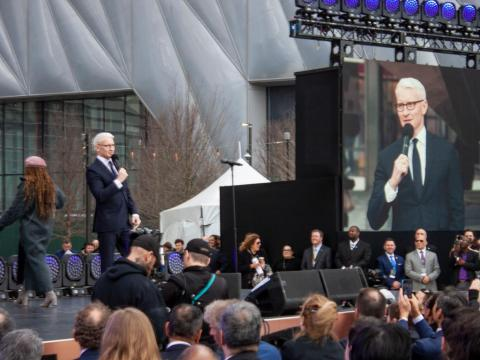 Musician Andra Day performed and CNN's Anderson Cooper told the crowd about how his company will eventually be moving into a Hudson Yards office.