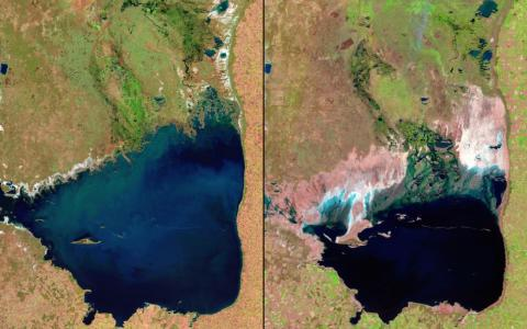 Argentina's Mar Chiquita Lake has also shrunk significantly. The image on the left is from 1998, and the lake is shown in 2011 on the right.
