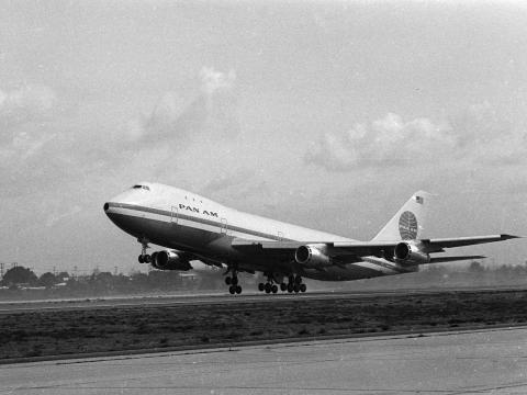A Pan American World Airways Boeing 747.