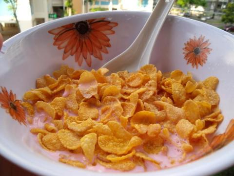 A bowl of cornflakes.