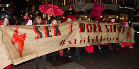 British sex workers protest the criminalisation of sex work in London on International Women's day, March 2019.