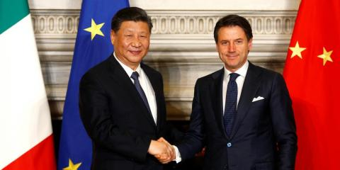 Xi with Italian Prime Minister Giuseppe after signing trade agreements at Villa Madama in Rome on March 23, 2019.