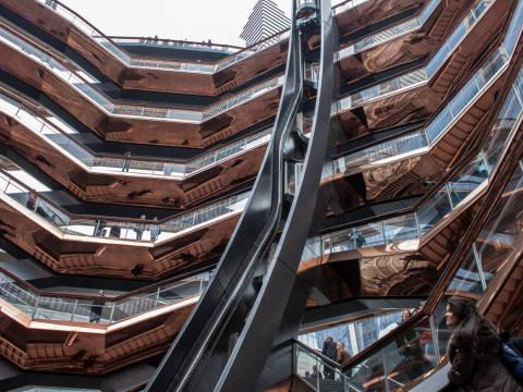 Designed by Thomas Heatherwick, the structure is made up of 154 interconnected stairways, nearly 2,500 individual steps, and 80 landings.