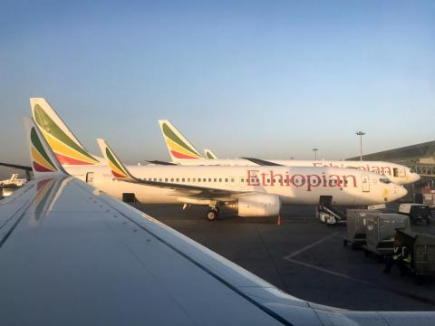 An Ethiopian Airlines Boeing 737-800 parked at Bole International Airport in Addis Ababa, Ethiopia.