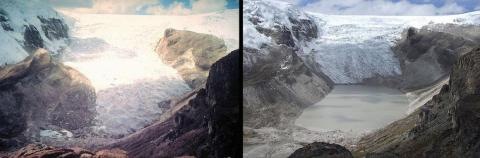 Even glaciers that aren't in the Arctic are retreating. Here's Peru's Qori Kalis Glacier in 1978 (left) and again in 2011 (right).