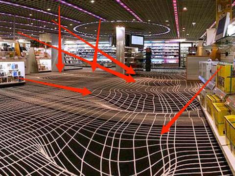 The floor itself is flat, but the curvy lines make it disorienting.