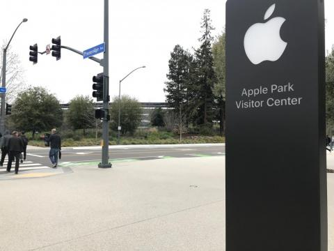In front of the visitor center, you can see Apple's spaceship building across the street.