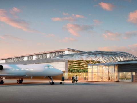 A rendering of the terminal at San Jose International Airport.