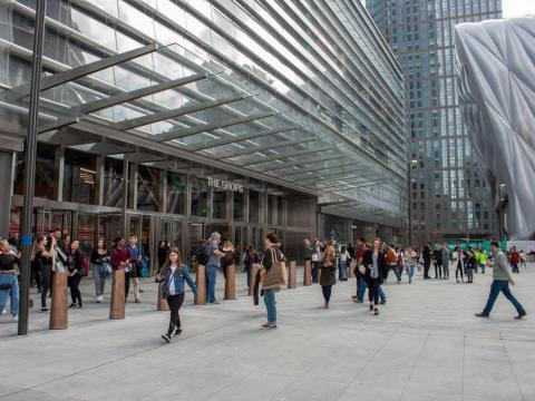 Hudson Yards was already bustling with people on its opening day.