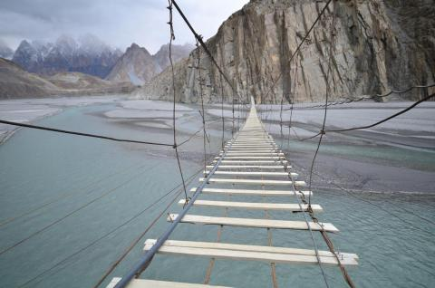 The Hussaini Hanging Bridge in Pakistan was once so unsteady, it washed away and had to be rebuilt.