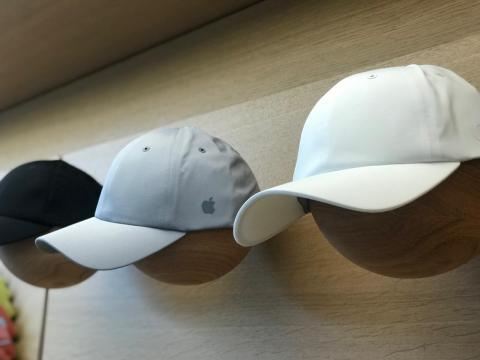 If you're looking for a more discreet way to show your Apple love, the store also sells hats with small logos.