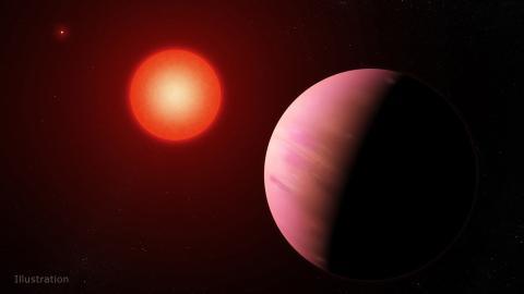 Ilustración de un exoplaneta alrededor de una estrella