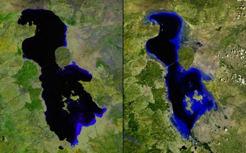 Iran's shrinking Lake Urmia is pictured below in July 2000 (left) and again in the same month in 2013 (right).