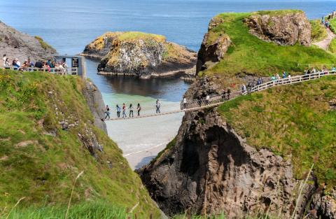 Ireland's Carrick-a-Rede Rope Bridge offers a shaky pathway to a small island.