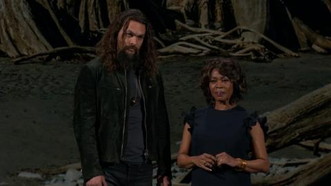 "Jason Momoa and Alfre Woodard introduced ""See,"" a show about a world where the Earth is devastated by a virus that leaves only a few million survivors, who are all blind."