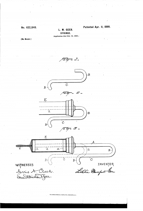 Imagen de la patente de 1899 de la Jeringa de una sola mano diseñada por Letitia M. Geer.