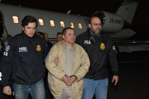 Guzman arrives at Long Island MacArthur Airport in New York after his extradition.