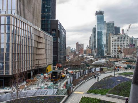 Looking north, you can see that some parts of Hudson Yards are still construction zones.