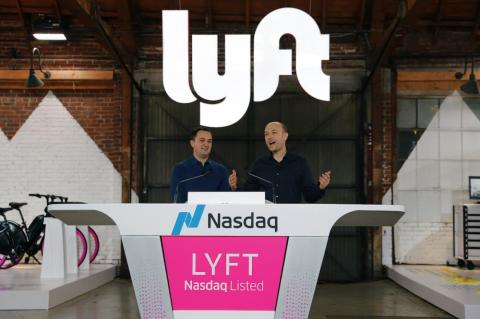 Lyft President John Zimmer and CEO Logan Green speak as Lyft lists on the Nasdaq at an IPO event in Los Angeles March 29, 2019.