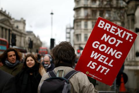 Un manifestante en contra del Brexit en Londres.