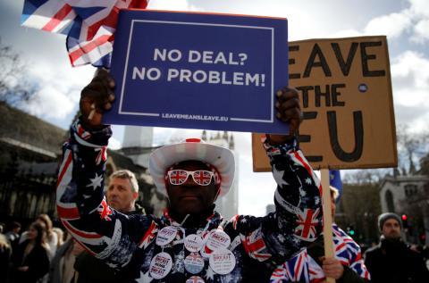 Un manifestante a favor del Brexit protesta en Londres.
