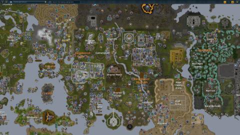 El mapa del mundo virtual de Runescape