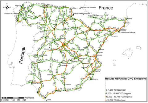 Emisiones GEI en la Red de Carreteras del Estado (2012)