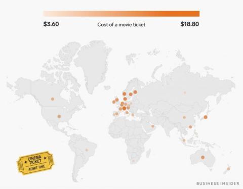 Una entrada de cine cuesta entre 3,60 a casi 19 dólares (entre 3 y 16 euros)