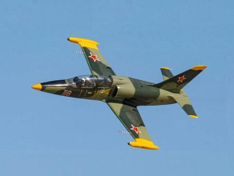 A Soviet-era Aero L-39 Albatros jet fighter.
